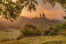 Golden Light on a Misty Corfe Castle V2 by pdsdigital
