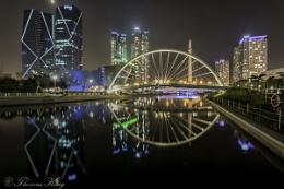 Nightscape of Central Park in Incheon, Korea