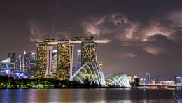 Marina Bay Sands and Lightning, Singapore