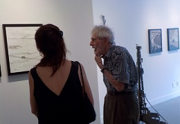 Candy Girling explaining the process of the art to her Father-in-law  Chandler Davis
