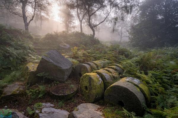 Bolehill Millstones in the Mist by jamesgrant