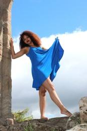 Girl in a blue dress.