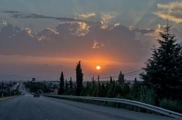 Sunset through the Windshield