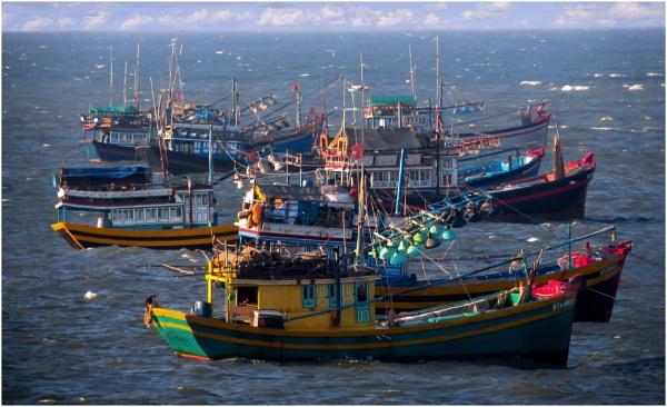 Vietnamese fishing boats by Prizm