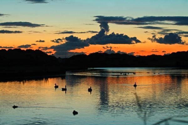 Setting sun at Crosby Marina by stevecornforthphotography