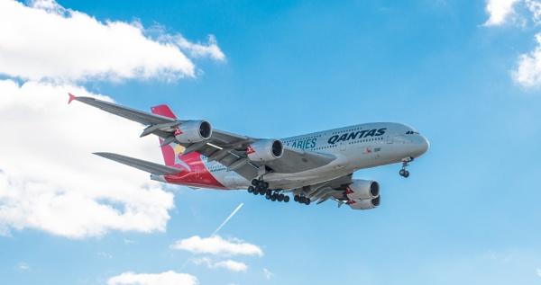 Qantas Airbus A380 landing at Heathrow by nellacphoto
