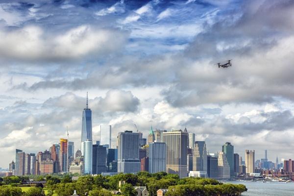 MV-22 Osprey over New York by Owdman
