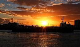 Sunset over Haslar marina..........