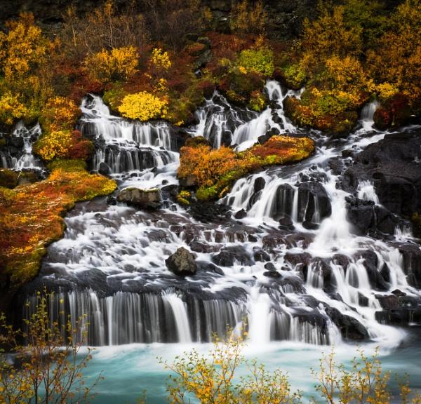 Colour Cascade, Hraunfossar, Iceland by BobinAus