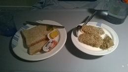 Hospital food. 4 weaterbix & 2 toast with butter & marmalade