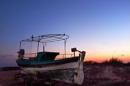 Abandoned fishing boat by exposure