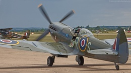 Supermarine Spitfire taxiing to the runway at Duxford, Cambridgeshire