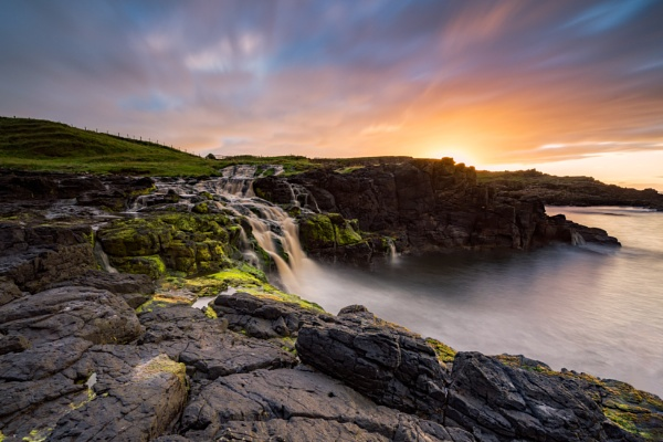 Dunseverick Coastal Falls by Johnnybairdphotography