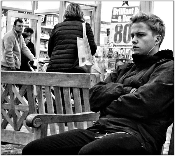 Boy on a Bench by ken j.