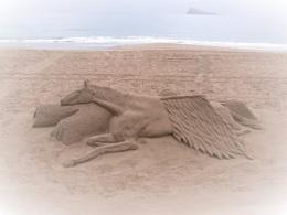 Pegasus sand art