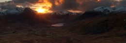 Last light caching the Snowdonia mountains