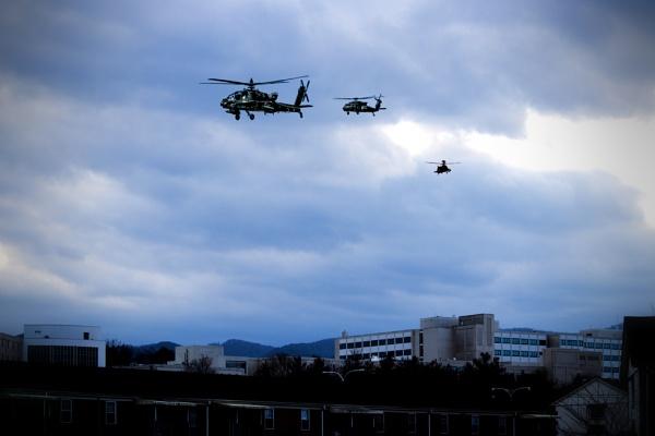 helos over Lewis ale Hospital in Salem Va. by PortraitDesigns