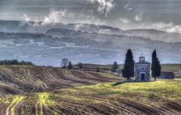 Church in Tuscan Landscape