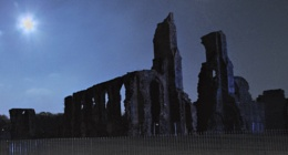 Snow Moon over Neath Abbey Ruins