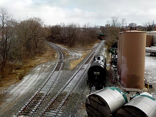 FROM A BRIDGE IN HAMILTON FEATURING RAILWAY TRACKS DSCN0483 by TimothyDMorton