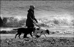 A brisk beach walk