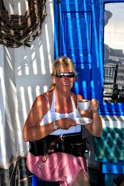 Me, Santorini, Sunshine and Shadows by PatriciaWilson
