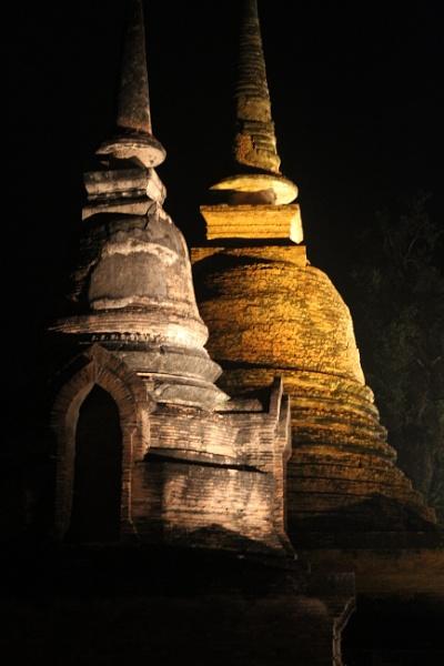 Ayutthaya Stupas by night