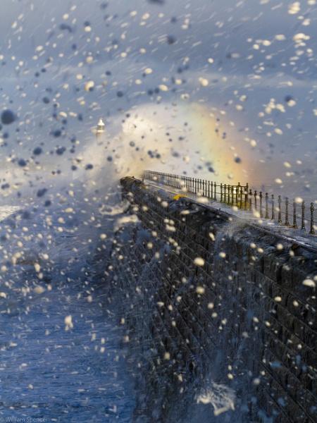Tynemouth breakwater in a storm by billspencer31