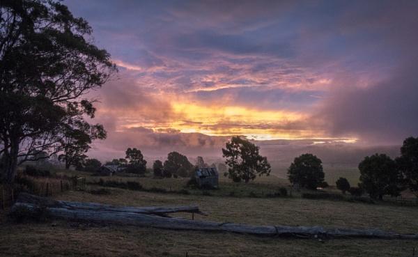 Sunset & Fog by scorpion1946