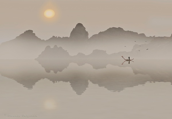Fisherman at dawn by rbai2007