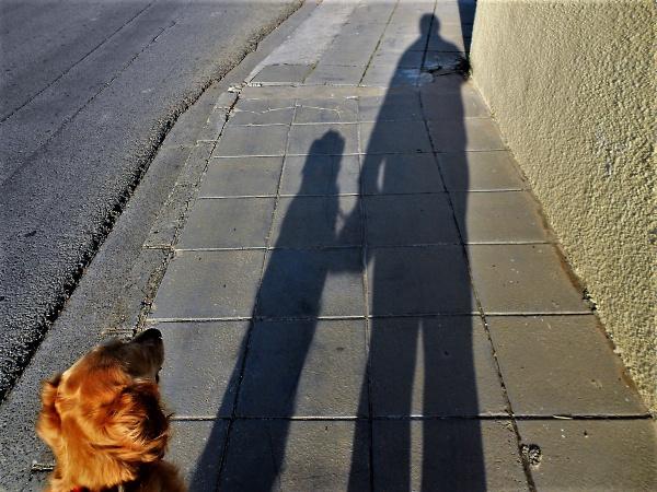 Rosie and Dad Saturday Shadows by geoffgt