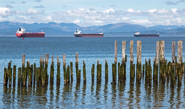 Merchant Ships at Astoria Port Oregon by Janetdinah