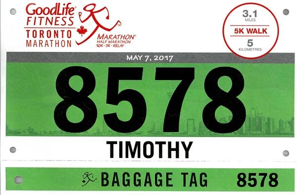 The BIB from 5K WALK in Goodlife Marathon in Toronto by TimothyDMorton