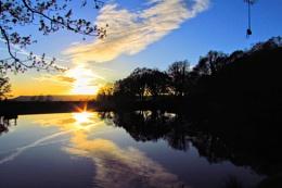 Sunset reflection fourth pond gnoll park neath