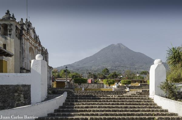 Church and volcano by JuanCarlos