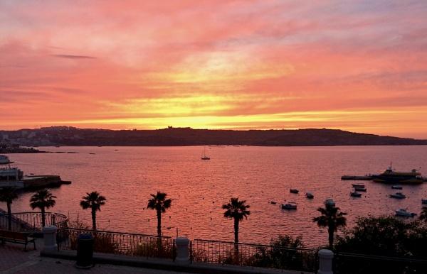Sunset Over St. Pauls Bay by tom2malta2