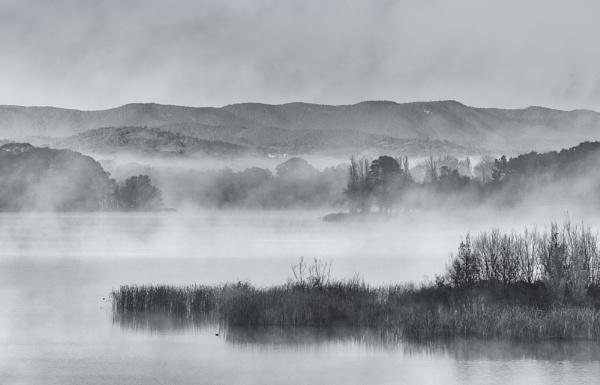 The Misty Season, Lake Burley Griffin and the Brindabella Range by BobinAus