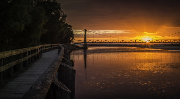 Swing Bridge at Sunrise by hannahwd