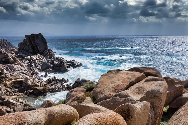 Waves Pounding the Coastline at Capo Testa Sardinia by Phil_Bird