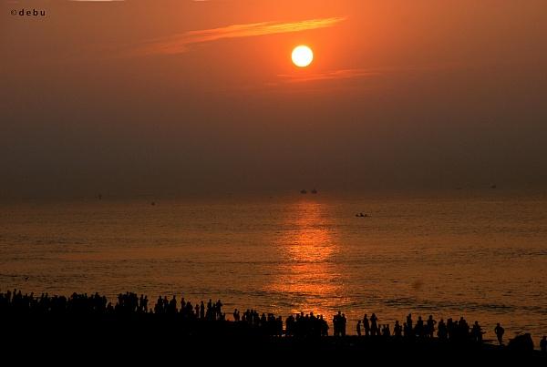 Sunrise View From Puri Sea Beach. by debu
