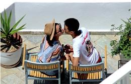 Love in Santorini.