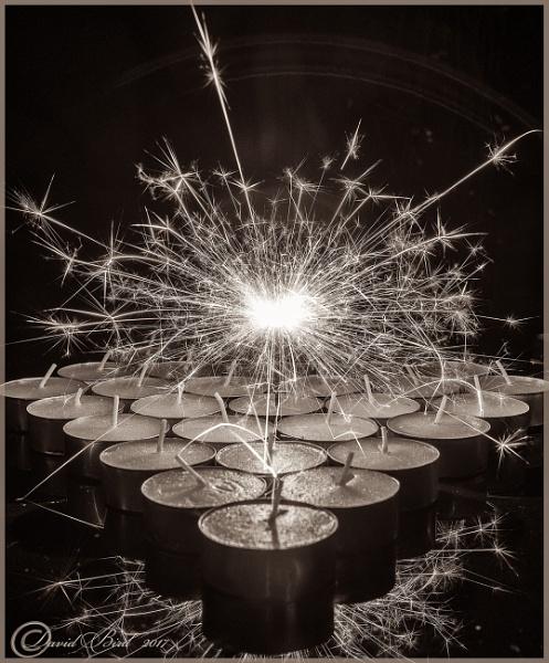 Sparkler and tea light candles by DavidBird