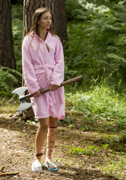 Deadly Axe Warrior in .. erm .. fluffy pink dressing gown and flip flops ..
