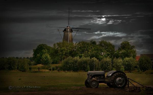 Buren Mill in moonlight.
