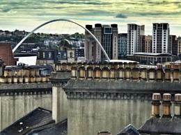 Gateshead Millennium Bridge and chimney pots