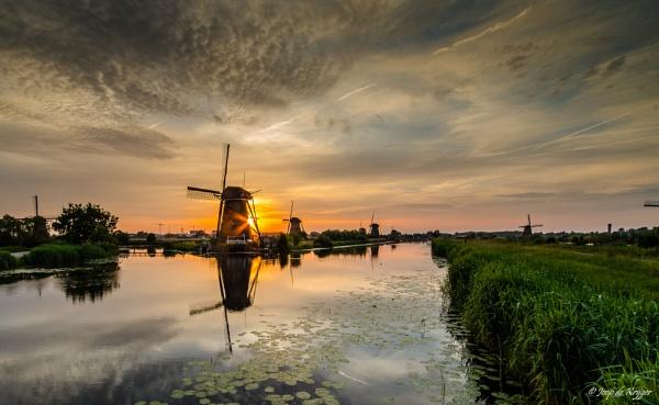 MILLS of Kinderdijk in the evening sun 2 by joop_