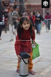 A cute tea seller of Kathmandu, Nepal.