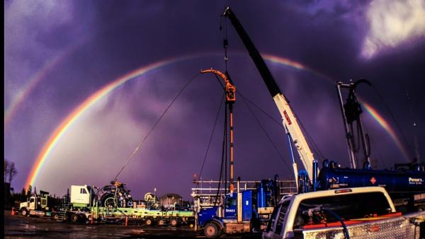 Rainbow and construction. by StevePushman