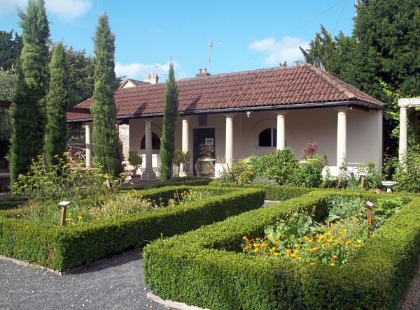 Mock Roman gardens and Veranda by Hurstbourne
