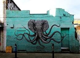Elephant Octopus Mural in East London